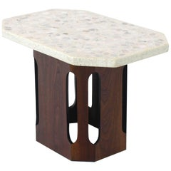 Oiled Walnut Base Terrazzo Top Side Table