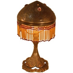 French Art Nouveau Bronze Table Lamp