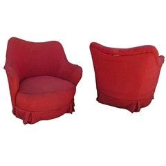 Rolling Barrel Back Lounge Chairs Vladimir Kagan Style Mid-Century Modern, Pair