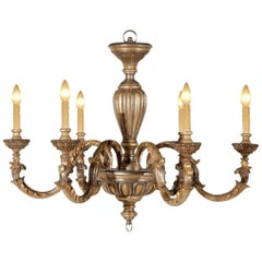 Wood Carved Six-Light Chandelier in a Mecca and Oxidized Silver Gilt Finish
