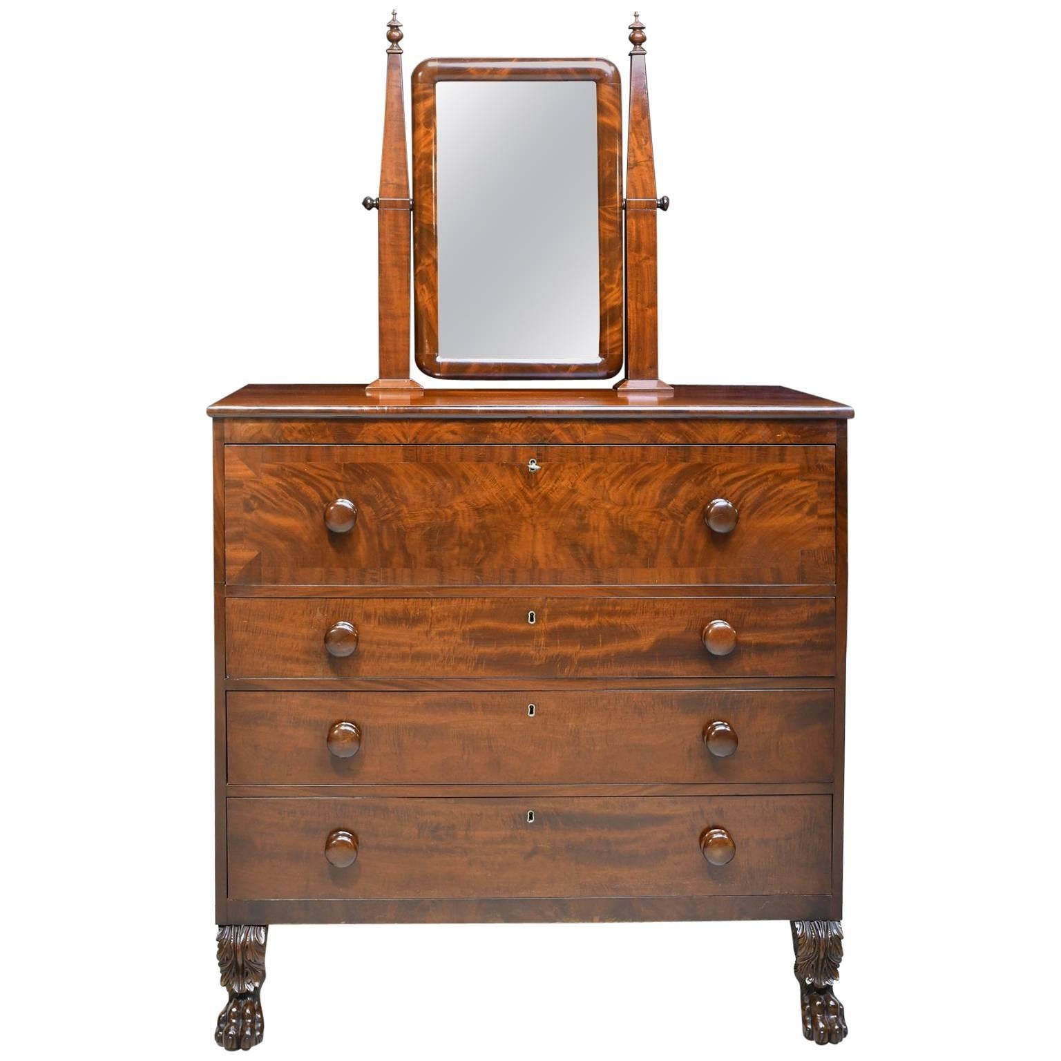 American Empire Chest Of Drawers With Mirror In Mahogany, Maine, Circa 1830  For Sale