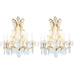 Pair of Exquisite Louis XV Style Rock Crystal Chandeliers