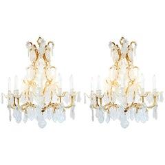 Paar Exquisite Louis XV-Stil Rock Kristall Kronleuchter
