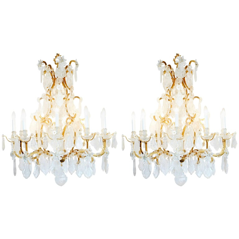 Pair of Exquisite Louis XV Style Rock Crystal Chandeliers For Sale