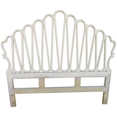 Unusual Hollywood Regency Ribbon Queen Size Head Board Midcentury