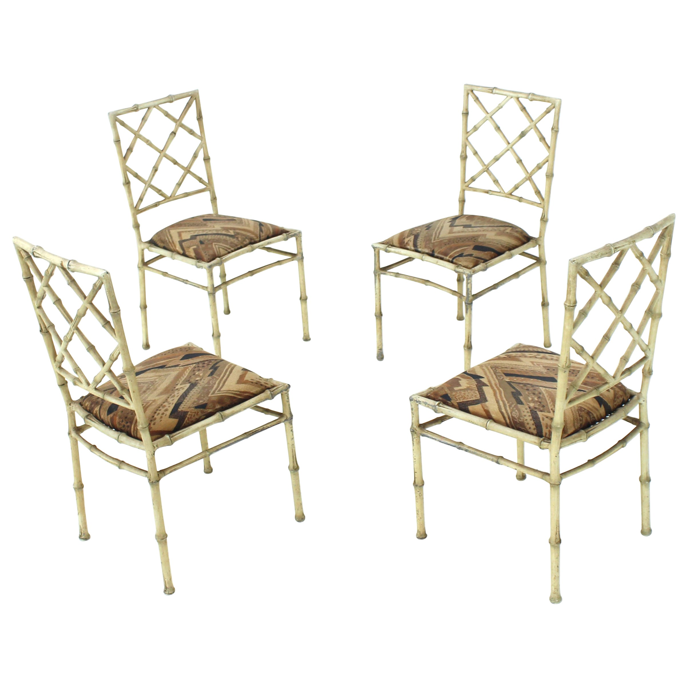 Set of Four Solid Cast Aluminium Faux Bamboo Dining Chairs