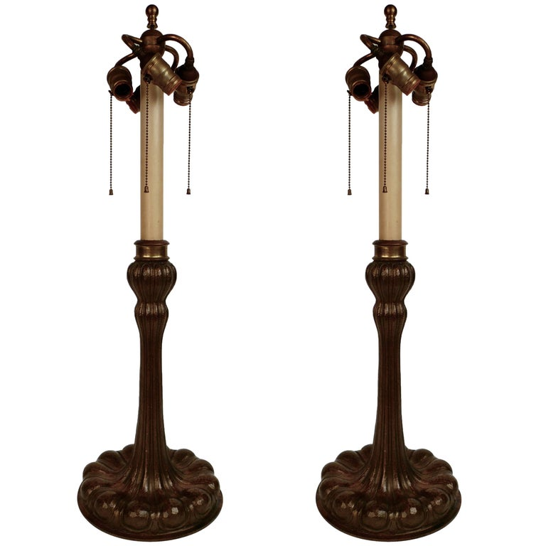 Large Pair of E. F. Caldwell Arts & Crafts Hand-Hammered Copper Table Lamps