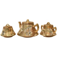 Gilded Hand-Painted Three-Piece Kutani Porcelain Tea Set, circa 1985