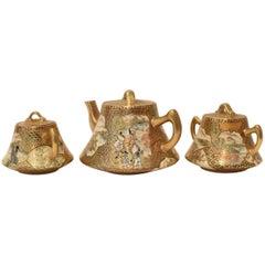 Gilded Hand-Painted Three-Piece Kutani Porcelain Tea Service, circa 1985