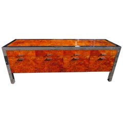 Spectacular Pace Collection Burled Walnut Chrome Credenza Mid-Century Modern