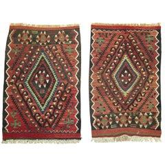 Pair of Tribal Persian Kilim Flat-Weave's