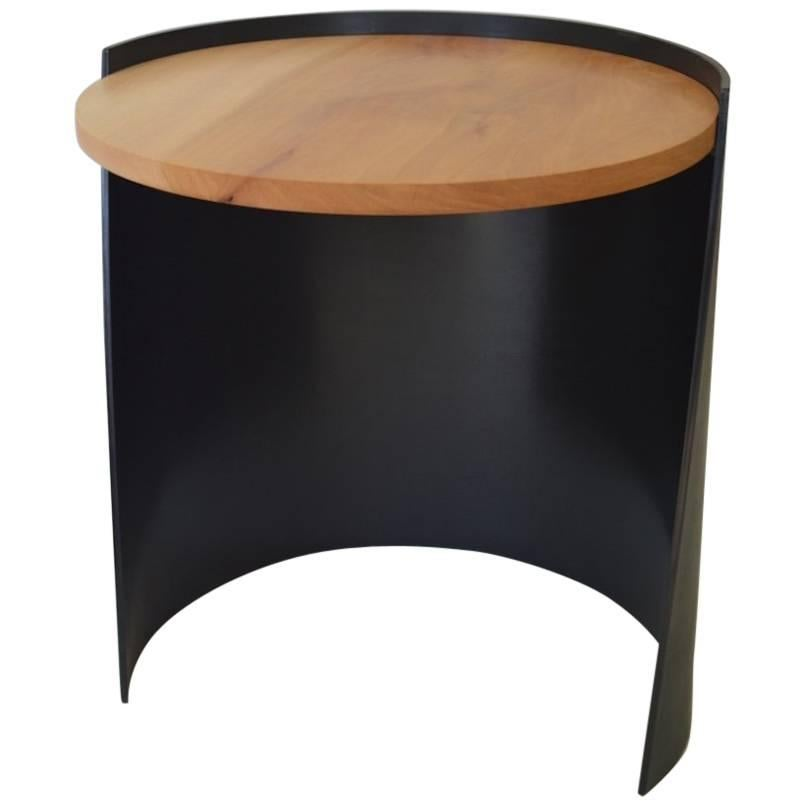 Contemporary Minimalist Blackened Steel and Wood End/Side Table by Scott Gordon