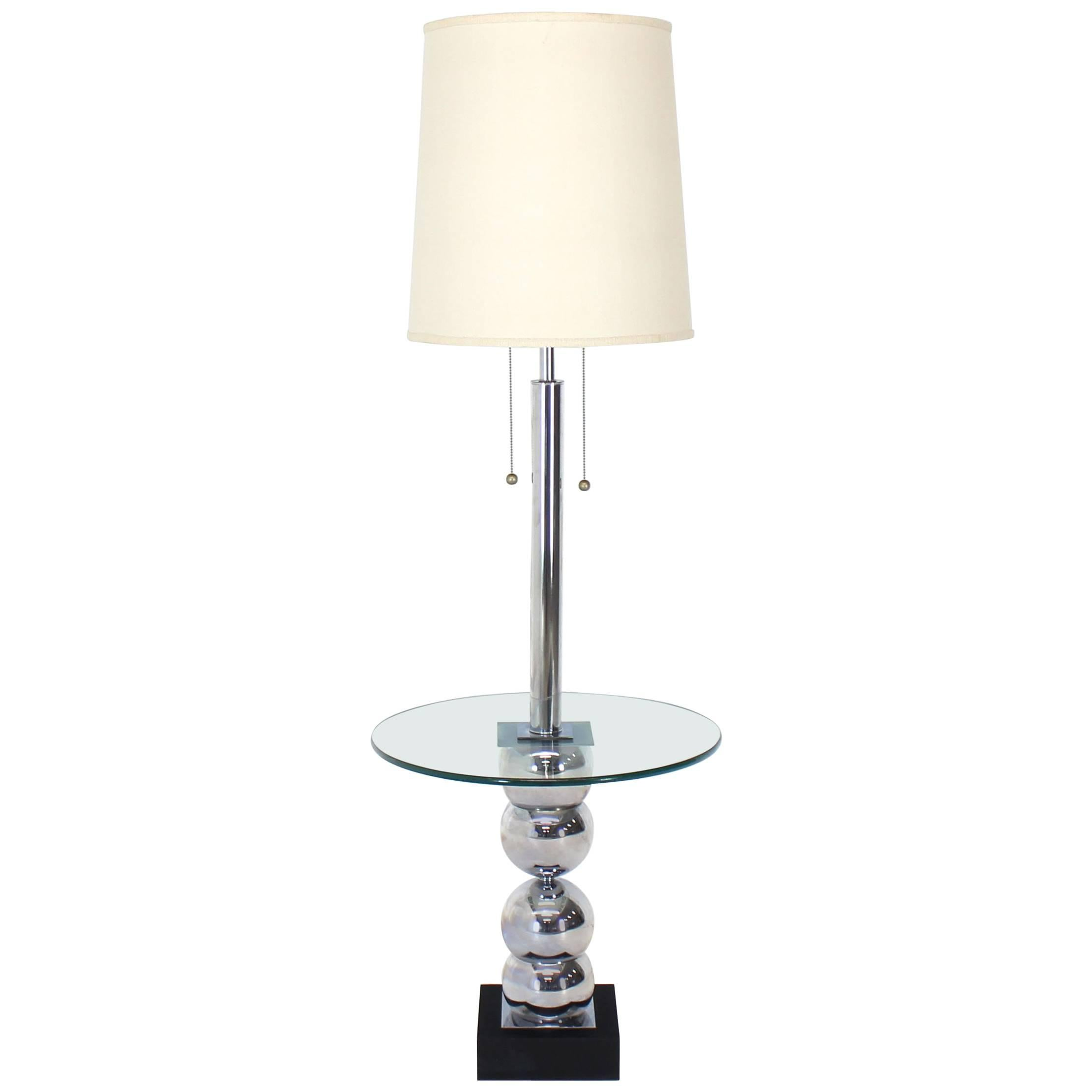 Stacked Chrome Globes Base Glass Side Table Floor Lamp