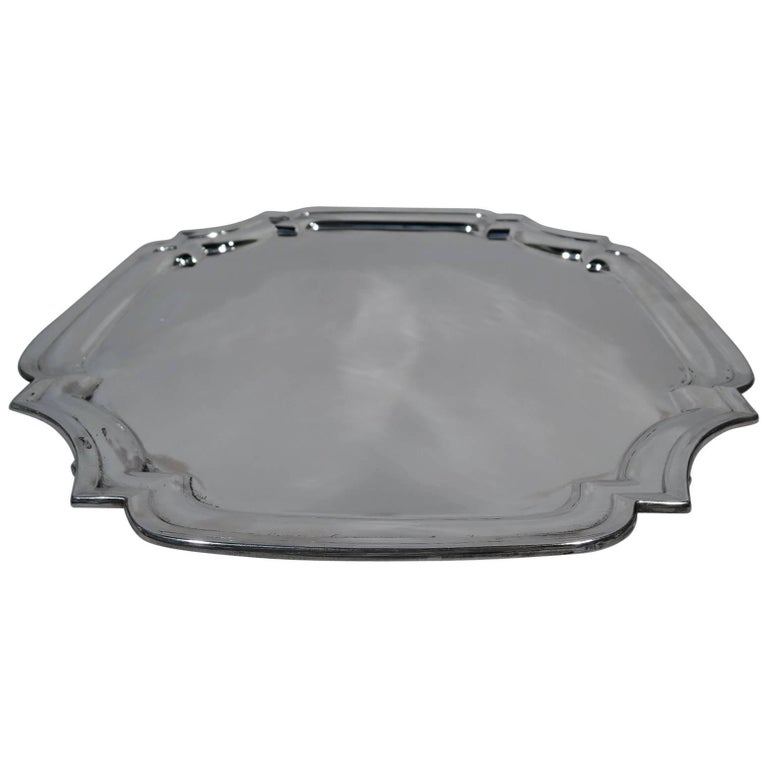 Traditional English Georgian Sterling Silver Cartouche Salver Tray For Sale