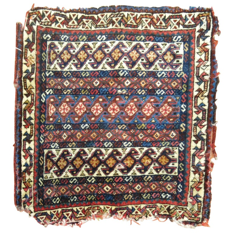 19th Century Persian Bagface Textile Rug For Sale