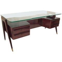 Vittorio Dassi 1950 Walnut and Glass Italian Midcentury Desk