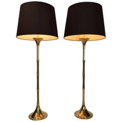 German Bamboo Floor Lamps in Brass by Ingo Maurer, 1960s