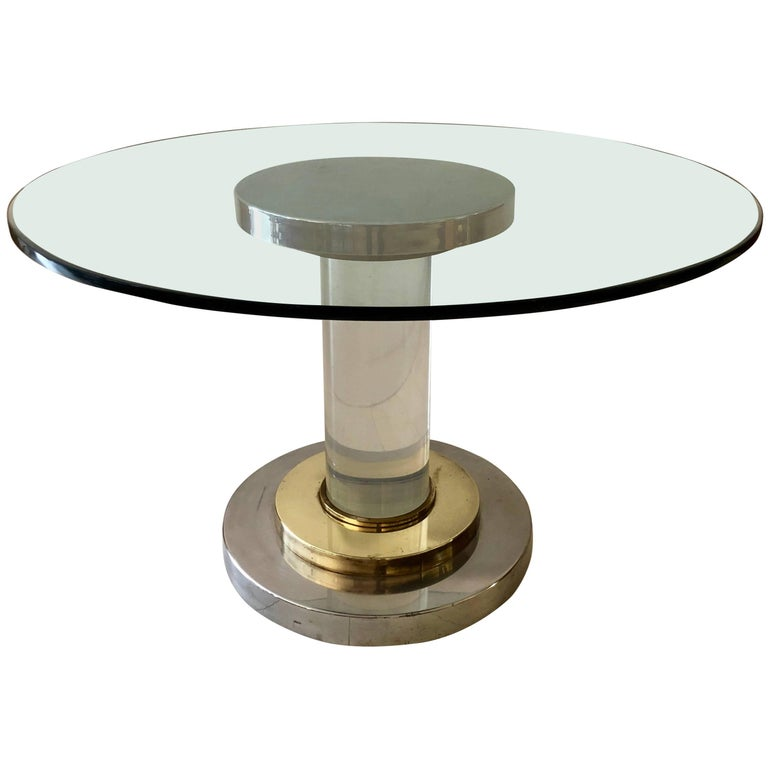 Lucite Pedestal Table by Romeo Rega For Sale