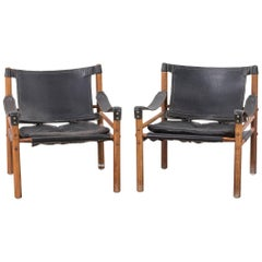 Arne Norell Safari Sirocco Chairs Black Leather and Rosewood, 1960s