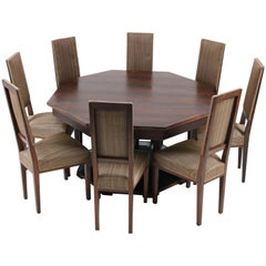 Macassar Ebony Dutch Art Deco Dining Room Set by 't Woonhuys Amsterdam, 1930s