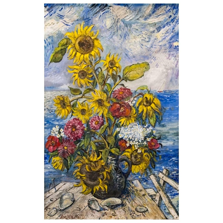 """""""Sunflowers by the Sea"""" by David Burliuk For Sale"""