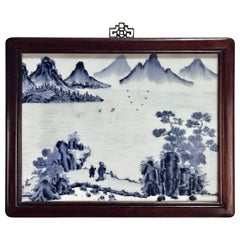 Republic Blue and White Chinese Export Porcelain Framed Plaque