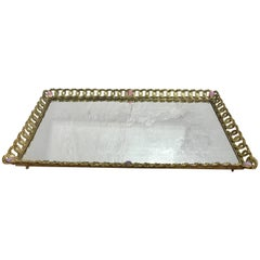 Large French Gilt Bronze and Jeweled Plateau