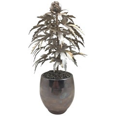 Silvered Gilded Tole Marijuana or Cannabis Potted Plant, Park Avenue Pot Plant