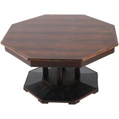 Macassar Ebony Dutch Art Deco Center Table by 't Woonhuys Amsterdam, 1930s