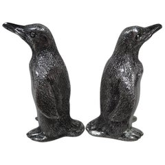 Pair of Tiffany Sterling Silver Waddling Penguin Salt and Pepper Shakers