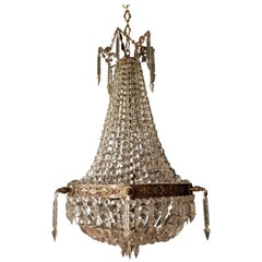 Antique Sac a Pearl Chandelier Crystal Lustre Brass Ceiling Lamp