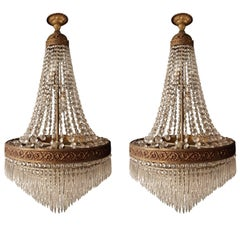 Empire Set 2x 'Sac a Perle' Pair of Crystal Chandelier Lustre Brass Ceiling Lamp