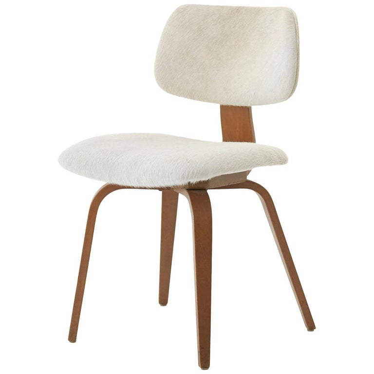 White Hide Thonet Midcentury Dining Chair For Sale At 1stdibs