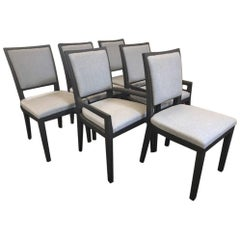 Set of Six Garbarino Elm Dining Chairs