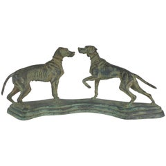 Vintage Bronze Sculpture of Two Hunting Dogs