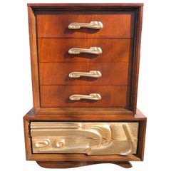 Fabulous Sculptural Tall Chest Dresser by Pulaski / Witco Oceanic Style