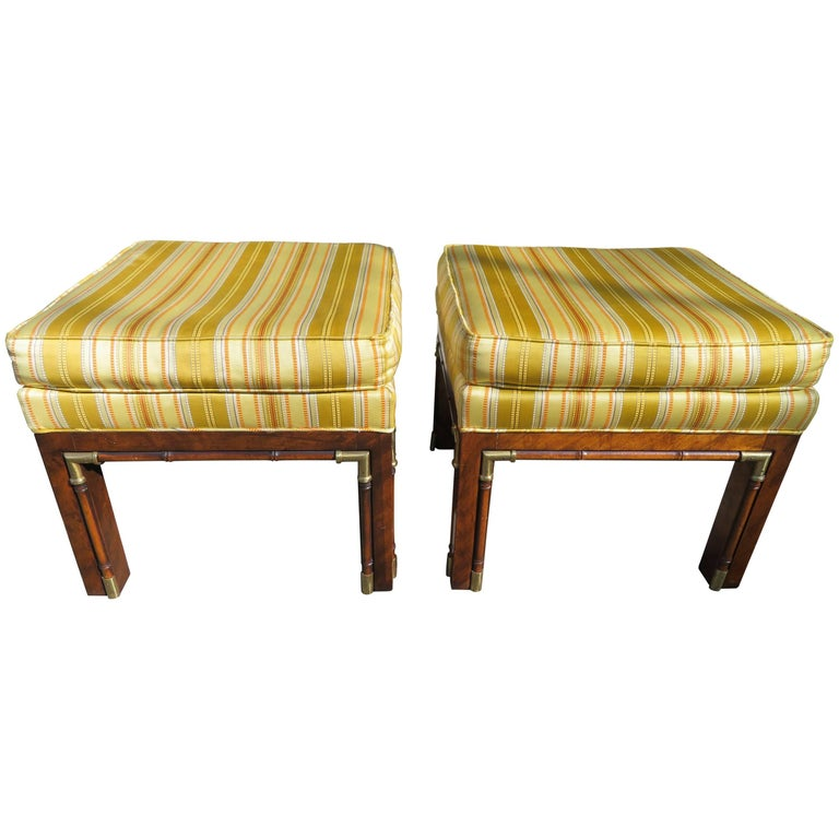 Handsome Pair of Walnut Brass Campaign Stool Ottoman Bench Mid-Century Modern