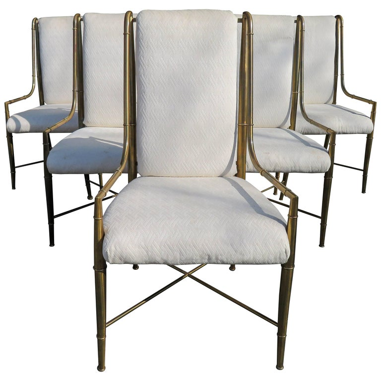 Set of Six Mastercraft Brass Faux Bamboo Dining Armchairs Hollywood Regency