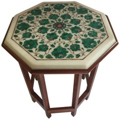 Pietra Dura Marble-Topped Octagonal Table Inlaid in Taj Mahal Anglo Raj Style