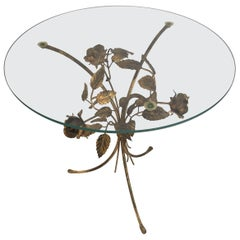 Flower Gilt Metal Side Table by Hans Kögl, 1960s