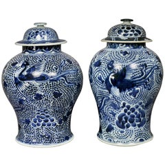 Matched Pair of Chinese Blue and White Covered Jars
