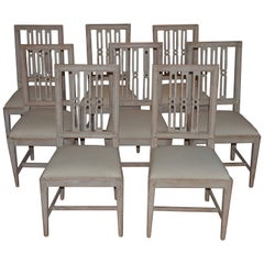 Set of Eight Period Swedish Gustavian Dining Chairs