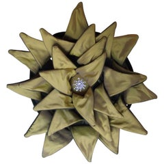 Unusual Yellow Dahlia Throw Pillow, Signed Limited Edition Velvet & Silk Pillow