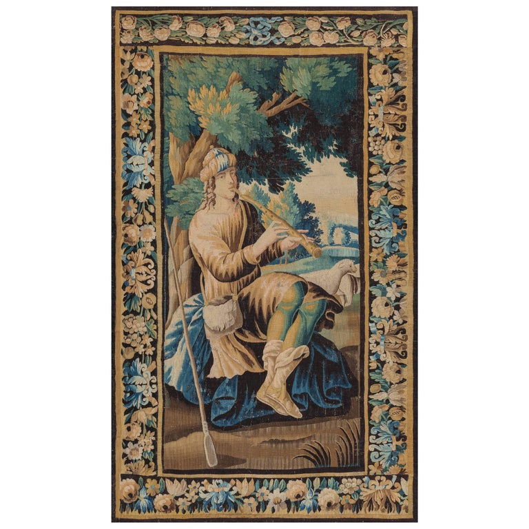 Antique Hand-Loomed Flute Player Tapestry, Aubusson France, circa 1700