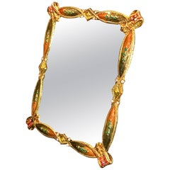 Art Nouveau Style Enamel Dressing Mirror in the Style of Jay Strongwater