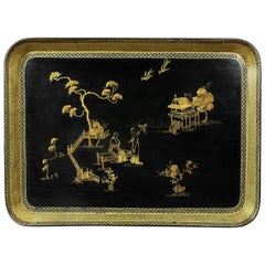 Regency Papier Mâché Chinoiserie Decorated Tray