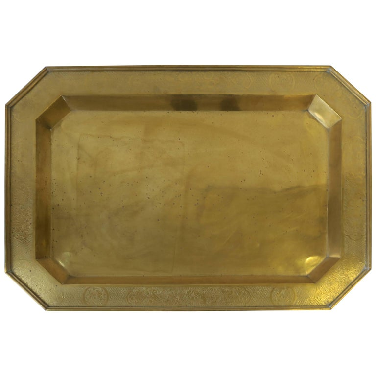Large Brass Octagonal Serving Tray