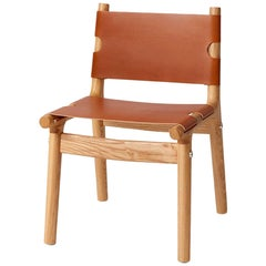 204 Dining Chair, Modern Ash Hardwood, Tan Harness Leather, Polished Aluminium