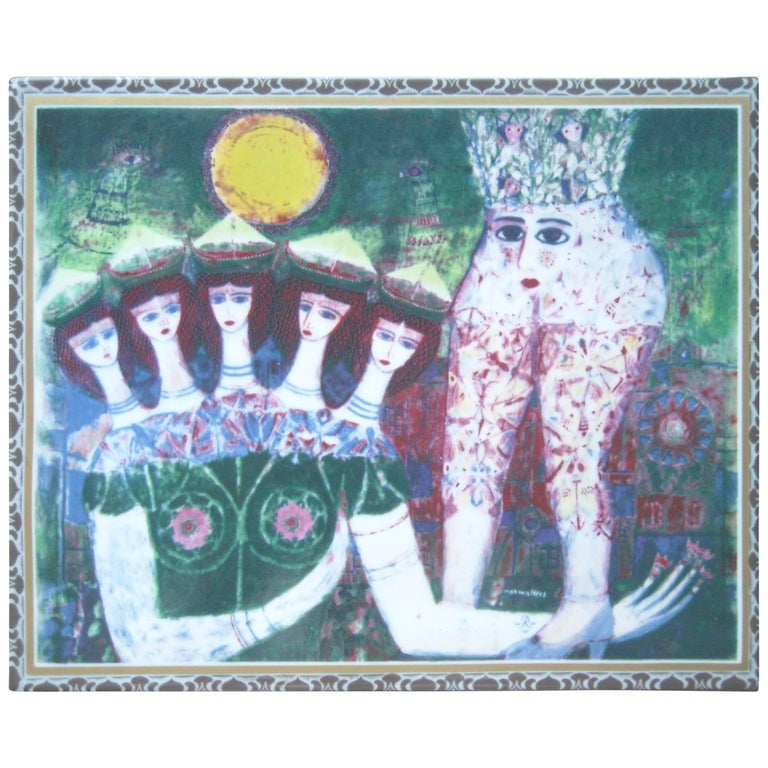 Max Walter Svanberg Painted Ceramic Tile, for Rorstrand, Signed Titled in Bac For Sale