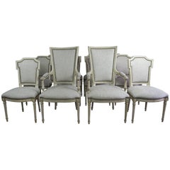 Set of 12 Louis XVI Style Neoclassical Dining Room Chairs